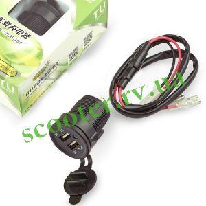 Разъем USB 5V 3,1А Универсальный врезной, 2 порта, круглый YOU